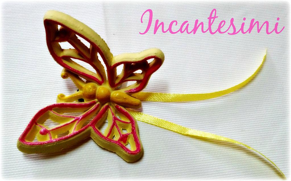 Farfalla in terracotta dipinta a mano - Bomboniera
