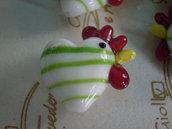 5 Perline Galline BIANCO con STRISCE VERDI