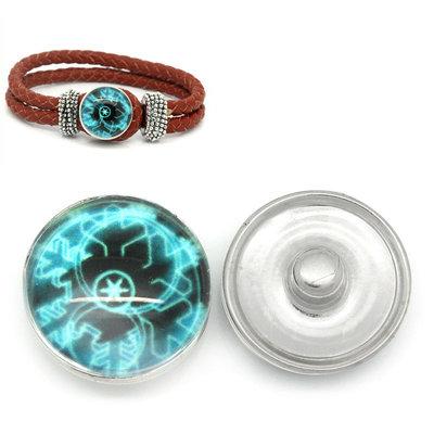 pulsante Bottone a clip con fiocco multicolor azzurro-nero  18mm Dia. per Bracciale adattabile