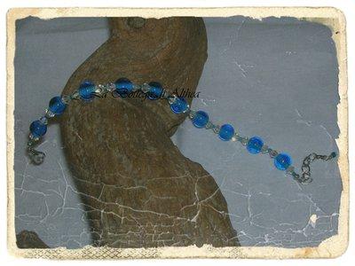 Bracciale con pietre in vetro blu e swarovsky arcobaleno