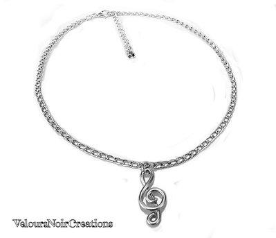 Collana girocollo chiave di violino metallo nota musicale