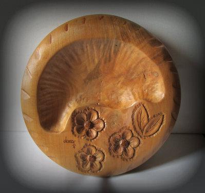 centro tavola in legno di ciliegio