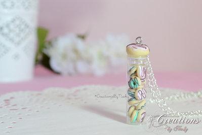 Collana con miniatura bottiglia e Donuts in fimo