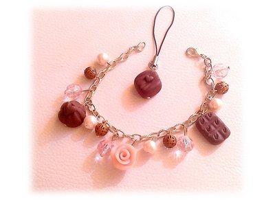 Bracciale phonestrap goloso cioccolatini rosa fimo