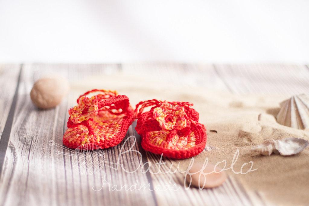 Scarpine infradito - flip flop - Baby e newborn ad uncinetto