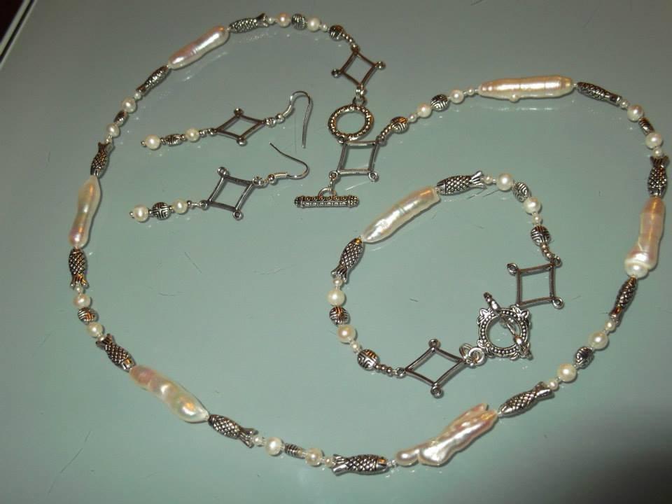 Collana perle di fiume naturali 3 pezzi SPEDIZIONE GRATUITA