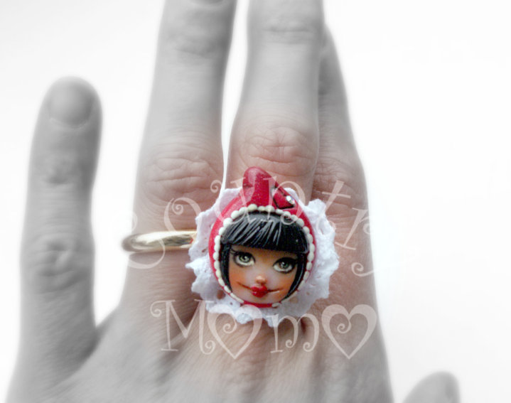 """little red cap"" ring- anello ""cappuccetto rosso""*"