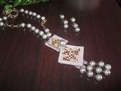 Collana e orecchini con perle shell grigie