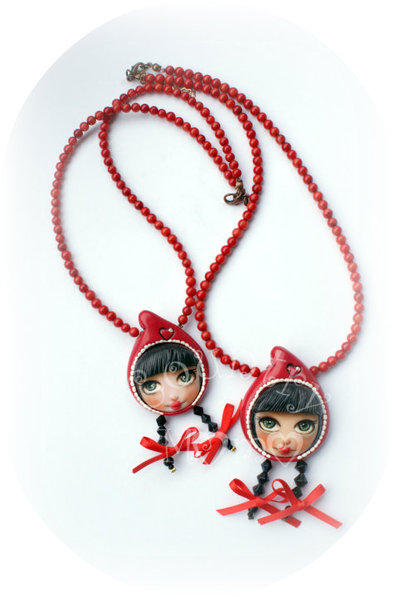 """little red cap"" necklace- collana ""cappuccetto rosso""  ""SALDI"""