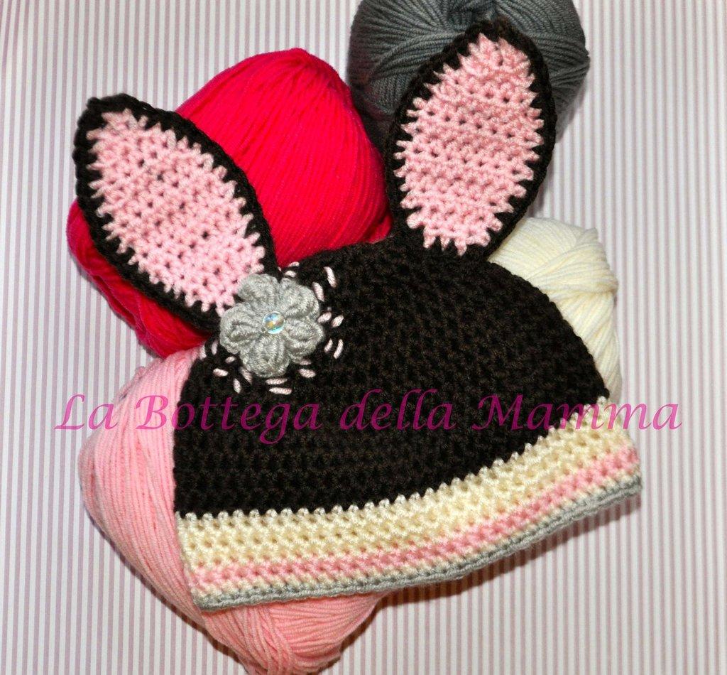 Cappello baby coniglietta con fiore in microfibra handmade tg 3/6 mesi