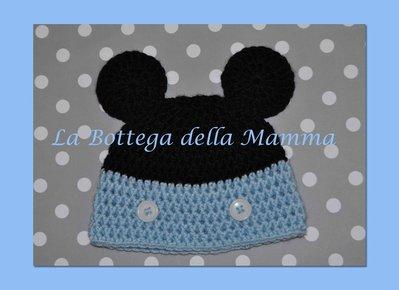 Cappello baby topolino azzurro in caldo cotone handmade tg 0/3 mesi
