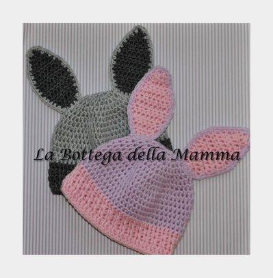 Cappello baby coniglio lilla e grigio in microfibra tg 3/6 mesi
