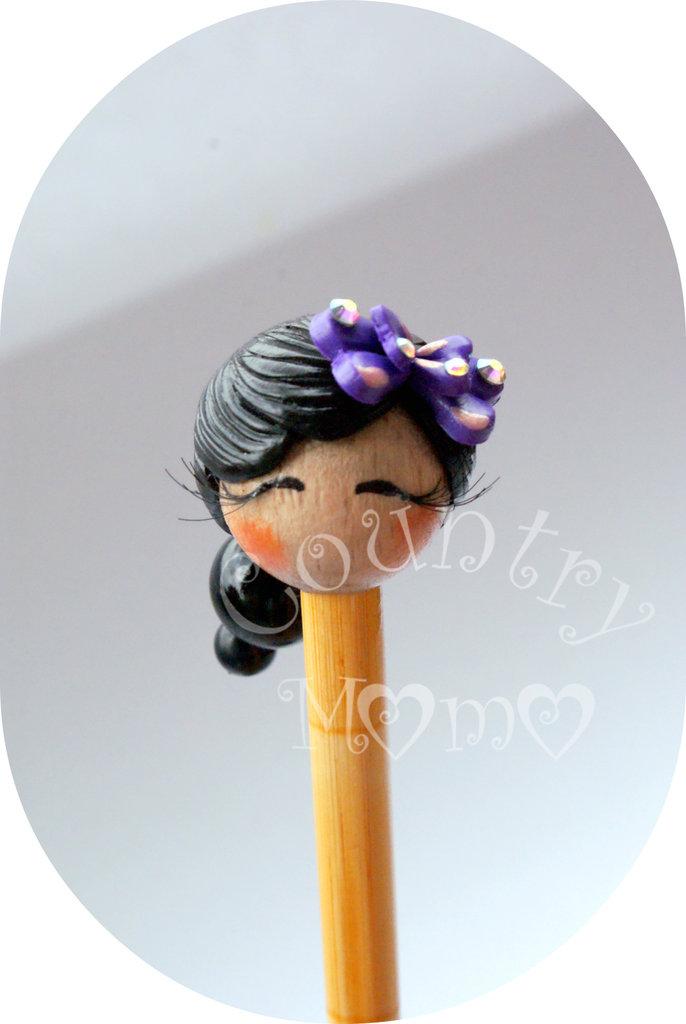 """Spillone per capelli """"kokeshi con farfallina viola""""  """"SALDI"""""""