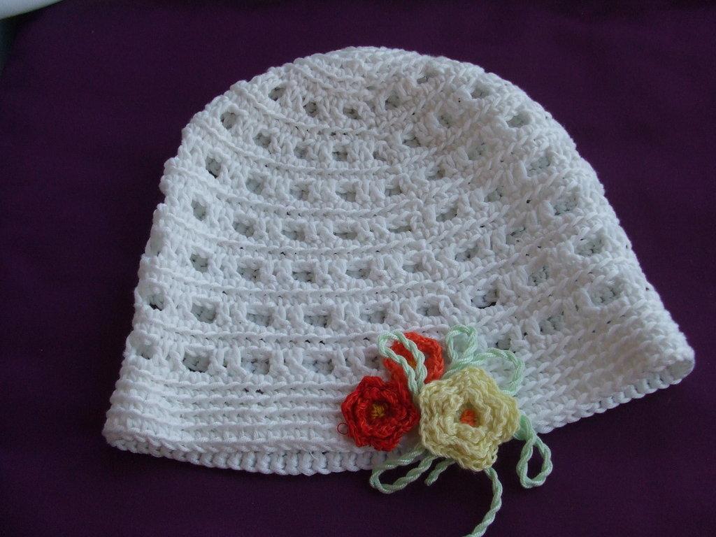 cappello bimba uncinetto cotone fiori