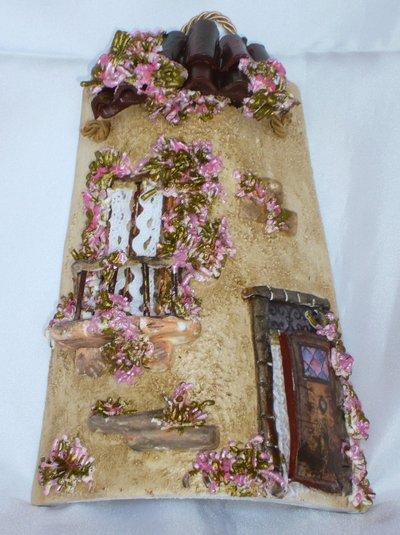 Piccola Tegola Casetta dei Fiori Rosa