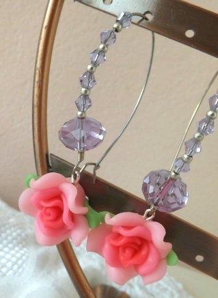 Orecchini rosa fimo e cristalli moda primavera estate 2014