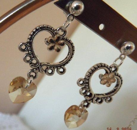 Orecchini collezione 2014 con cristallo a cuore e strass idea regalo