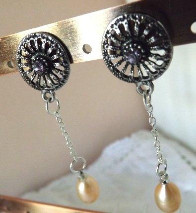 """Orecchini collezione"""" leggerezza"""" con strass e perla di fiume"""