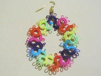 Orecchini pendenti multicolore, fatti a mano a chiacchierino