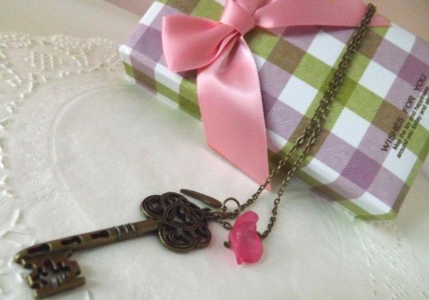 Collana chiave con ali e rosa vintage love amore idea regalo!!