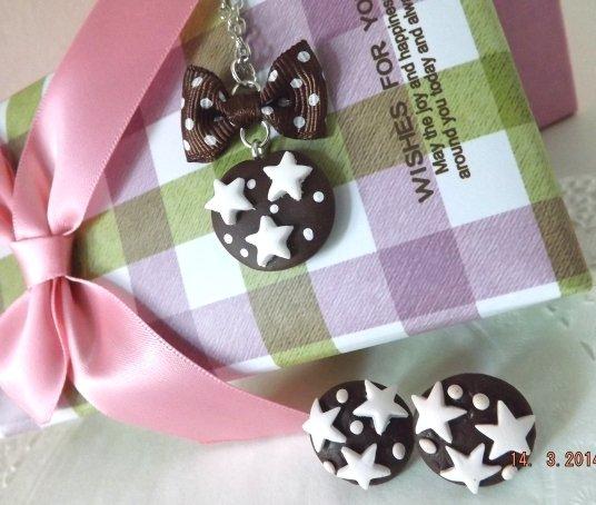 Parure collana e orecchini biscotto pan di stelle fimo!!