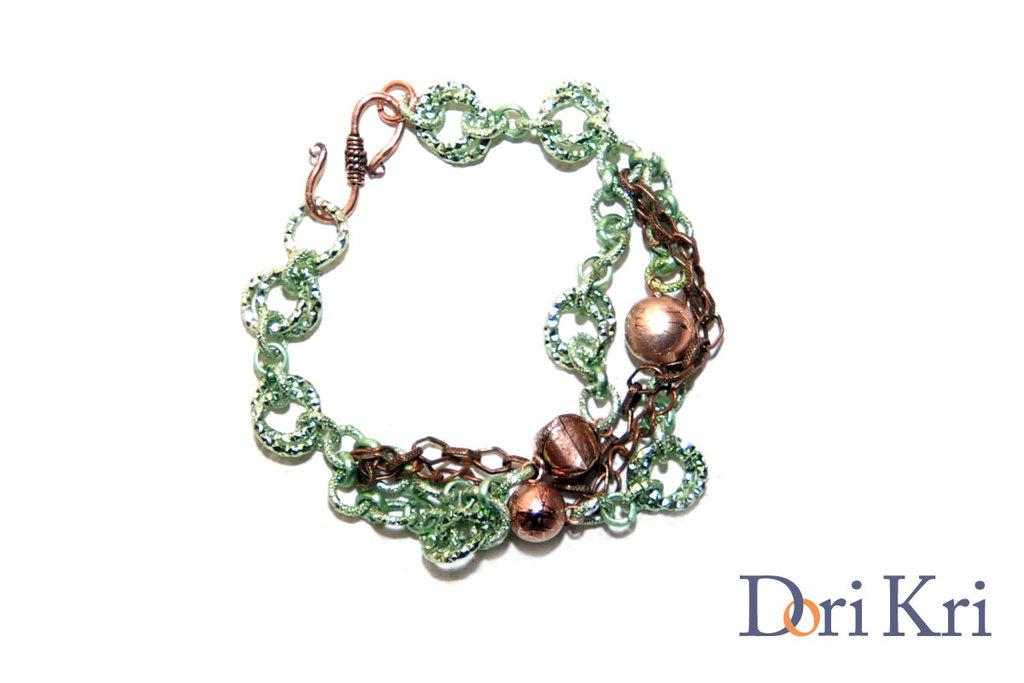 Bracciale braccialetto a catena color verde e rame