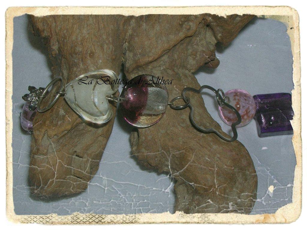 Bracciale in perle di vetro veneziano e metallo