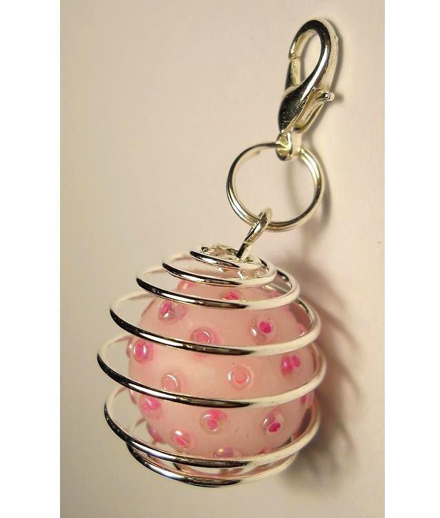 Charms gangio con gabbietta e perla di pasta fimo