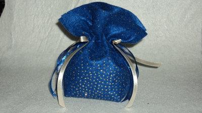 """sacchetto portaconfetti confettata fai da te artigianale """"blu oro"""""""
