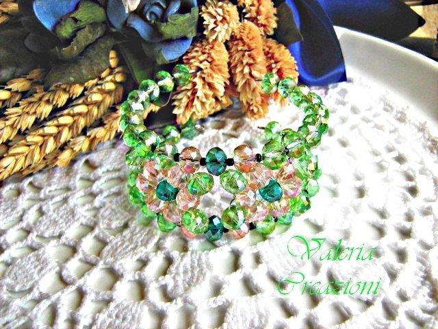 Bracciale braccialetto primavera a fascia in cristallo rosa e verde