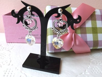Orecchini collezione 2014 con cristalli e strass fiore e cuore idea regalo