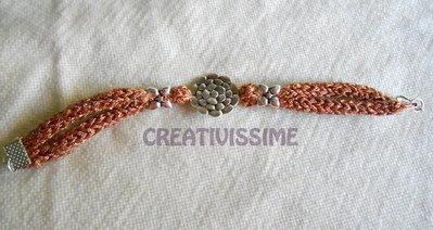 Braccialetto Triccottin  fatto a mano rosa antico scuro lamè