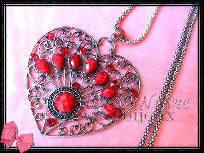 Collana con cuore rosso in argento tibetano anallergico