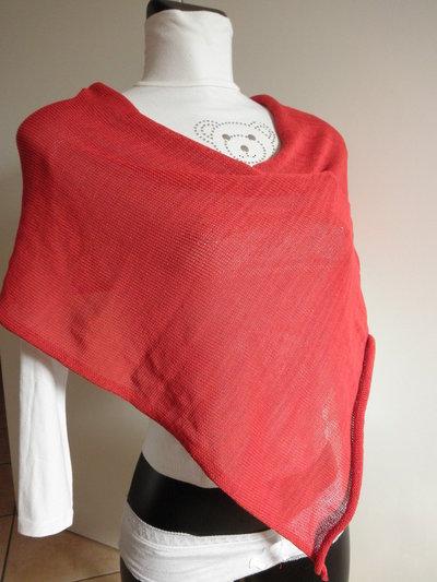 Poncho rosso da donna,in cotone e viscosa,maglieria accessori donna