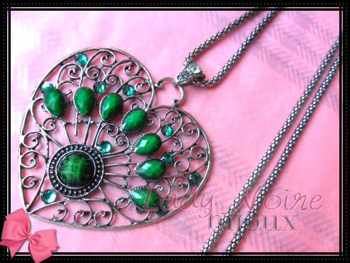 Collana con cuore verde in argento tibetano anallergico