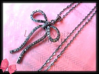 Collana con fiocco in argento tibetano anallergico e strass
