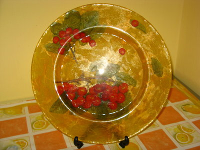 Piatto in decoupage di vetro rotondo