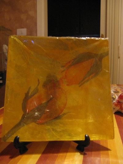 Piatto in decoupage di vetro quadrato