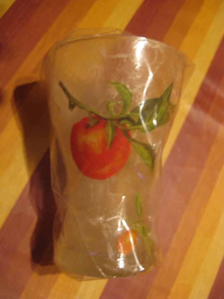 Vaso in decoupage di vetro piccolo