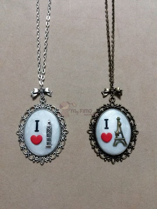 "Collana ""I love London"" e collana ""I love Paris"""