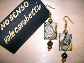 orecchini con perline in legno naturale, perline, immagine, fatti a mano.