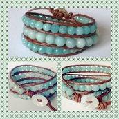 Bracciale stile Chan luu, tre giri cuoio caramello e pietre acquamarina