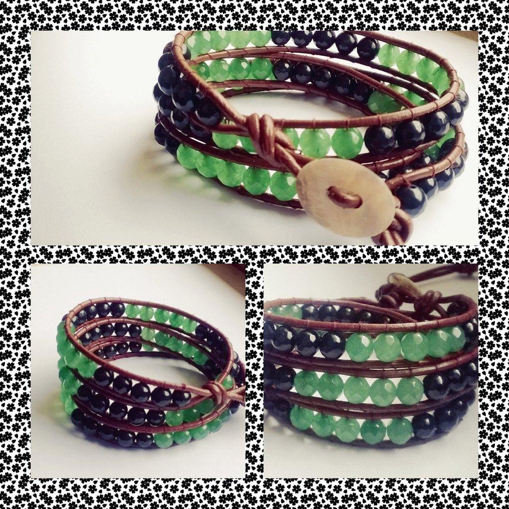 Bracciale stile Chan luu, cuoio caramello, bicolore