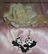 orecchini cuore black & white