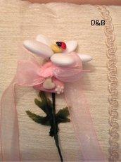 Margherita con confetti  confezionata con il cuore rosa in pasta di mais