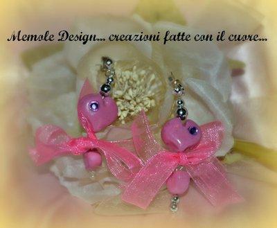 orecchini  cuori rosa memole design