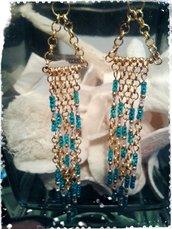orecchini boho oro turchese