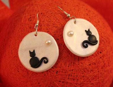 Orecchini luna piena e gattino nero con perlina - monachella