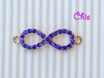 1 connettore link infinito strass blu