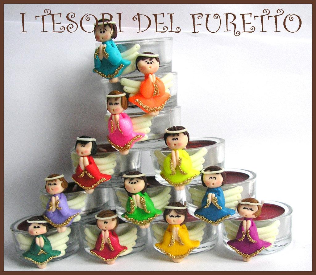 "12 ""Fufufangel "" Angelo, angioletto, Bomboniera Nascita, Comunione, Cresima, Matrimonio Fimo cernit kawaii"